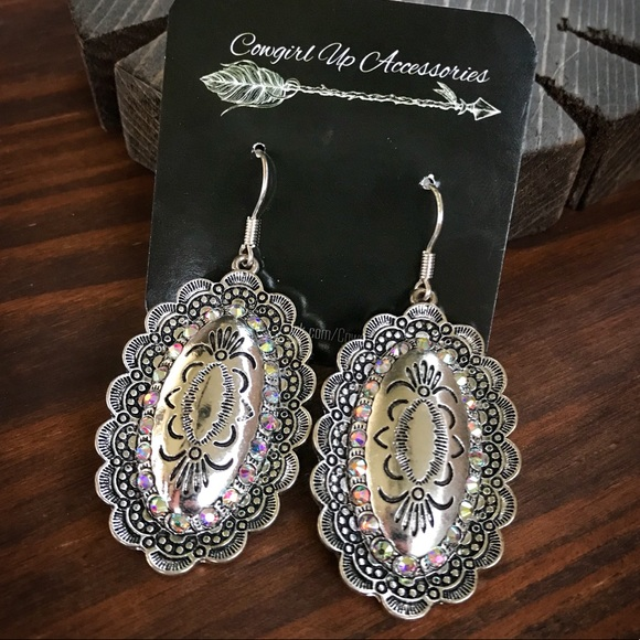 Silver Embossed Concho Earrings Boutique